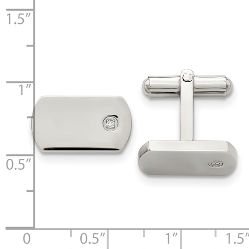 Chisel Stainless Steel Diamond Accent Cuff Links
