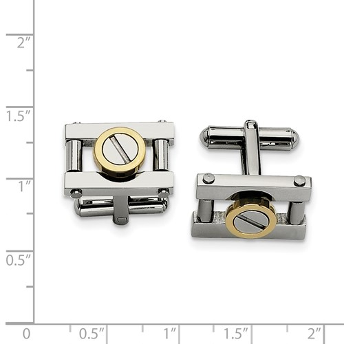 Chisel Stainless Steel Gold Cuff Links