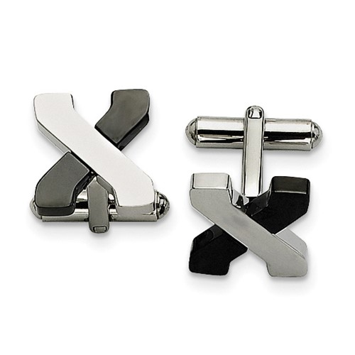 Chisel Stainless Steel Black-plating and Polished Cuff Links
