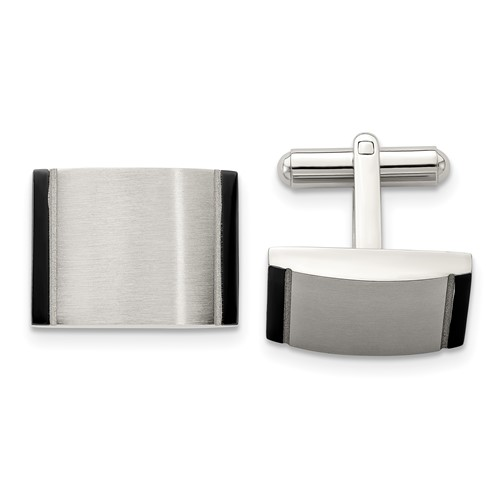 Chisel Stainless Steel Brushed Black Acrylic Cuff Links