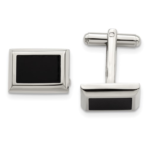 Chisel Stainless Steel Black-plated Cuff Links