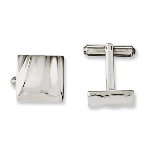 Chisel Stainless Steel Polished Concave Cuff Links