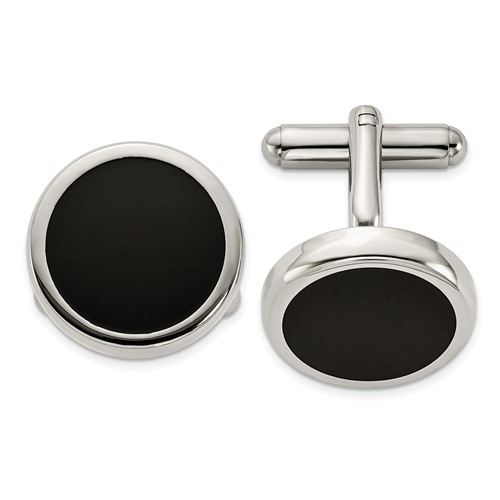 Chisel Stainless Steel Black IP-plated Circle Cuff Links