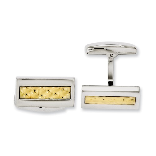 Chisel Stainless Steel Yellow IP-plated Textured and Polished Cuff Links
