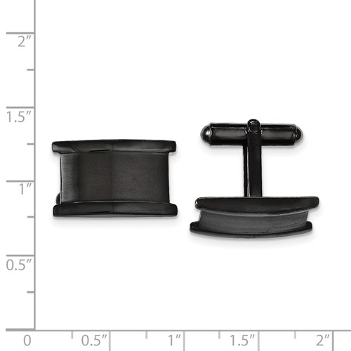 Chisel Stainless Steel Black IP-plated Brushed and Polished Cuff Links