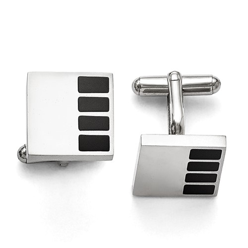 Stainless Steel Polished Enameled Cuff Links