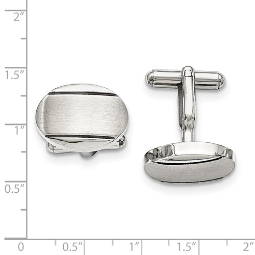 Stainless Steel Polished/Brushed and Enameled Oval Cufflinks
