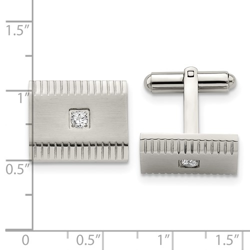 Stainless Steel Polished and Brushed CZ Cufflinks