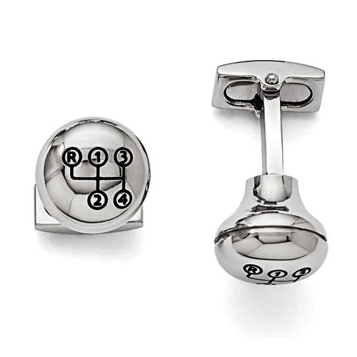 Stainless Steel Polished Stick Shift Design Enameled Cufflinks
