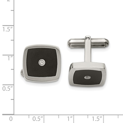 Stainless Steel Polished Enameled CZ Cuff Links