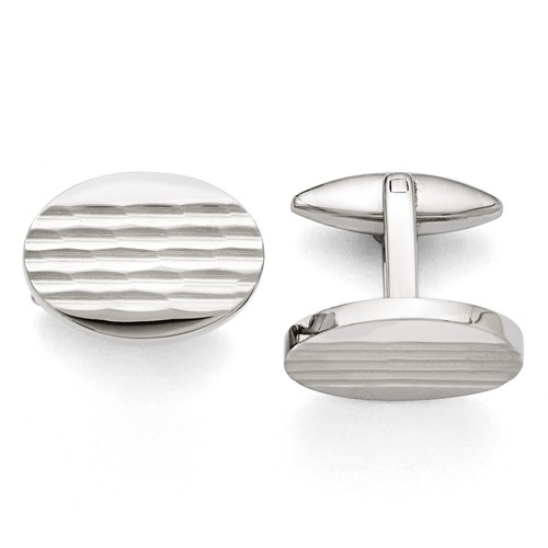 Stainless Steel Polished and Matte Oval Cuff Links