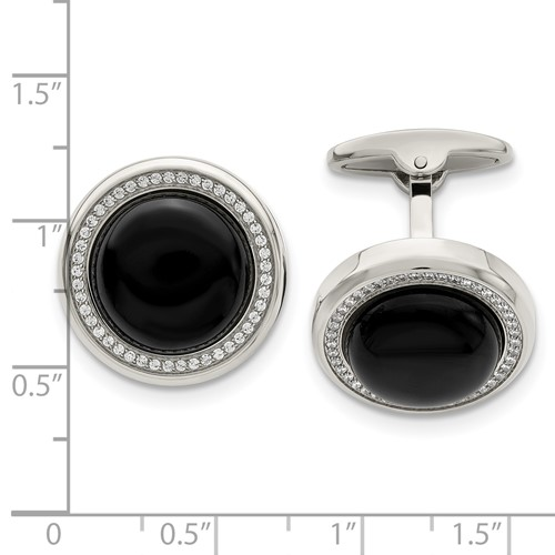 Stainless Steel Polished with CZ and Onyx Circle Cufflinks