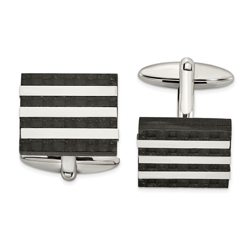 Stainless Steel Polished and Brushed Solid Carbon Fiber Cufflinks