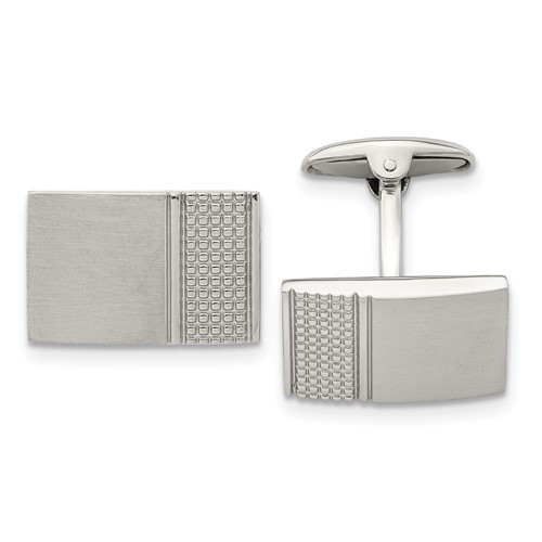 Stainless Steel Brushed/Polished Textured Cuff Links