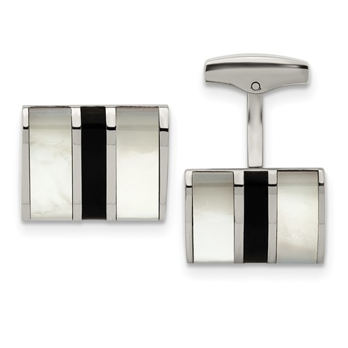 Stainless Steel Polished Black Semi-Precious Stone and MOP Cufflinks