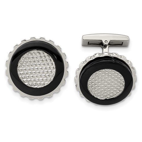 Stainless Steel Polished Black IP-plated Textured Round Cufflinks