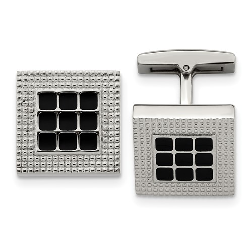 Stainless Steel Polished Black Rubber Square Cufflinks