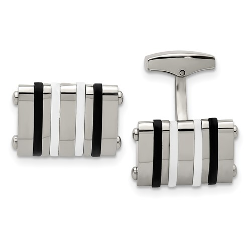 Stainless Steel Polished Black/White Rubber Bands Rectangle Cuff Links