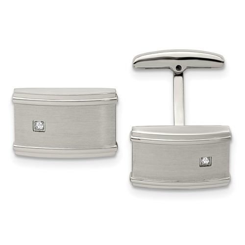 Stainless Steel Brushed/Polished CZ Cufflinks