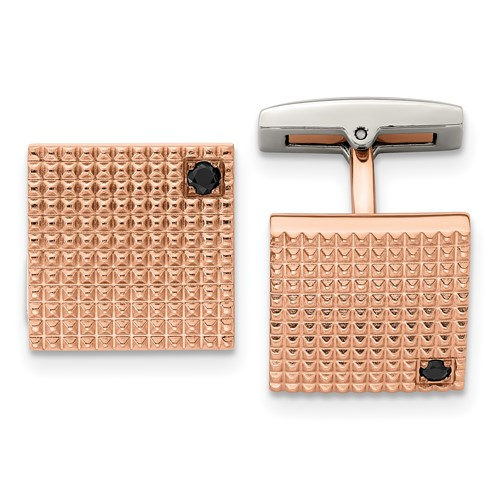 Stainless Steel Polished Textured Rose IP Plated Black CZ Cuff Links