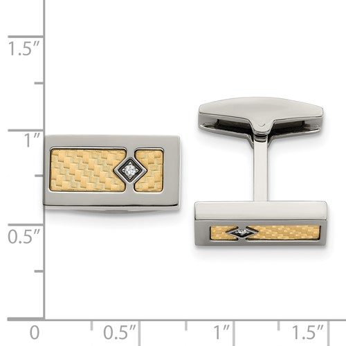 Stainless Steel with 18k Polished Textured Diamond Cufflinks