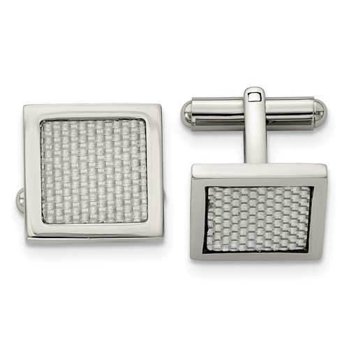 Stainless Steel Polished with Grey Carbon Fiber Inlay Cuff Links
