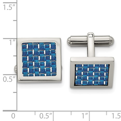 Stainless Steel Polished with Blue Carbon Fiber Inlay Cufflinks