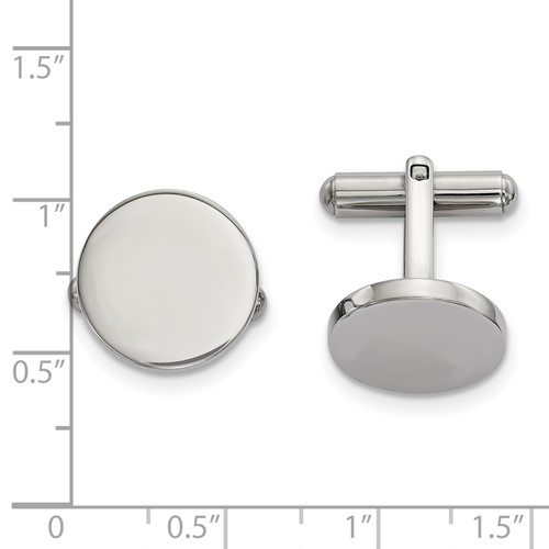 Stainless Steel Polished Circle Cufflinks