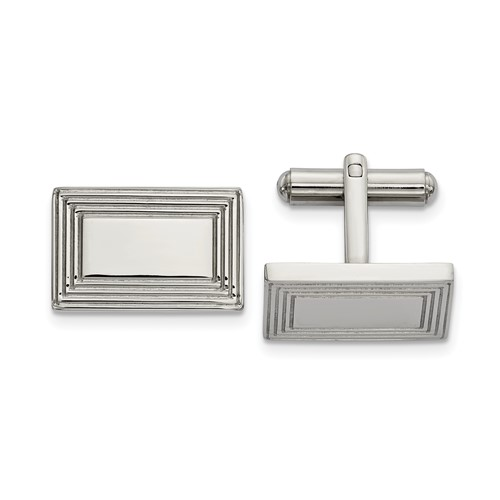 Stainless Steel Polished Rectangular Cuff Links