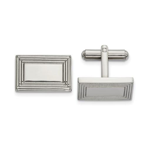 Stainless Steel Polished Rectangular Cufflinks