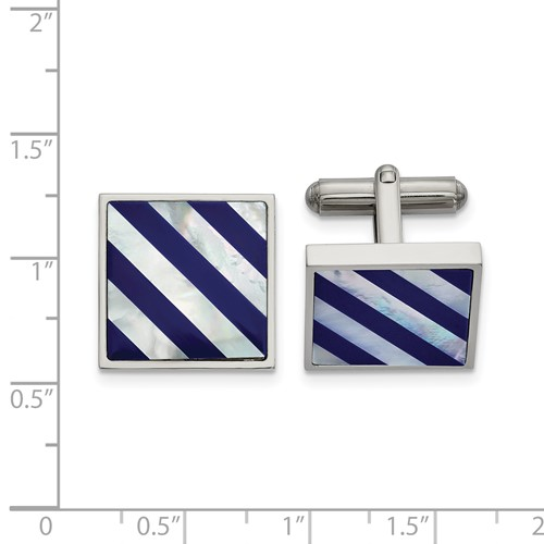 Stainless Steel Polished with Mother of Pearl and Blue Shell Inlay Cufflinks