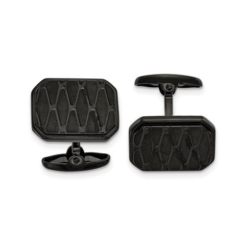 Stainless Steel Brushed and Polished Black IP-plated Cufflinks