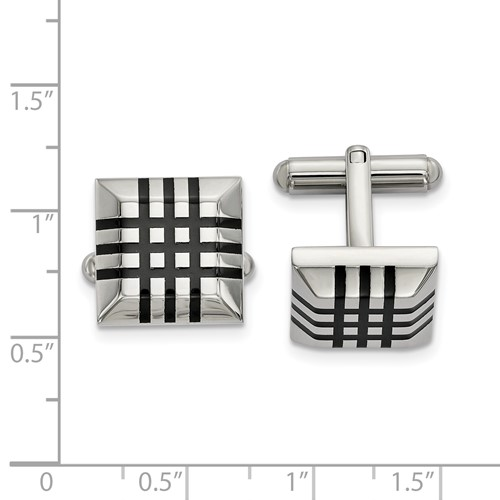 Stainless Steel Polished with Black Rubber Cufflinks
