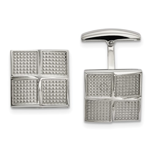 Stainless Steel Polished Textured Square Cufflinks