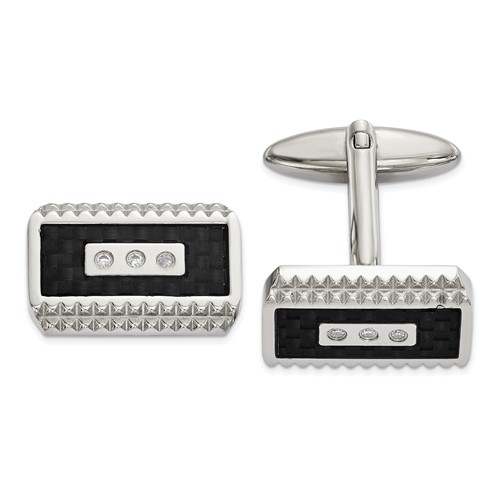 Stainless Steel Polished Black Carbon Fiber Inlay with CZ Cufflinks