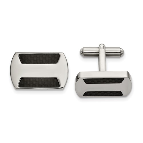 Stainless Steel Polished with Black Carbon Fiber Inlay Cufflinks