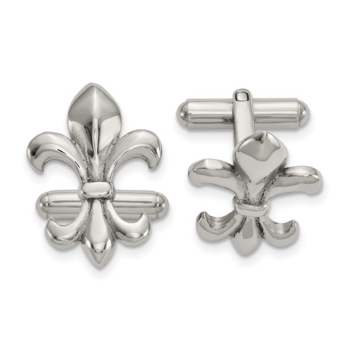 Stainless Steel Polished Fleur de Lis Cuff Links