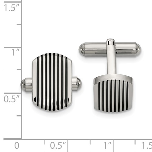 Stainless Steel Polished Black IP-plated Striped Cuff Links