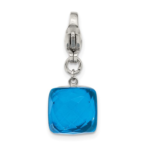 Stainless Steel Polished Blue Glass Square Lobster Clasp Charm