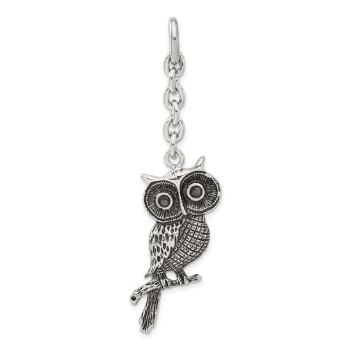 Chisel Stainless Steel Owl with CZ Interchangeable Charm Pendant