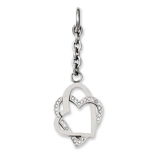 Chisel Stainless Steel Double Hearts with CZ Interchangeable Charm Pendant