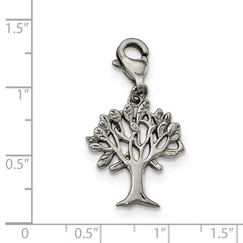 Stainless Steel Polished Tree with Lobster Clasp Charm