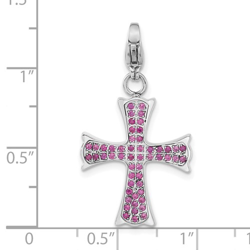 Stainless Steel Polished Red CZ Cross with Lobster Clasp Charm