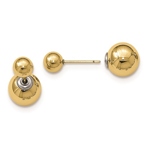 Stainless Steel Polished Yellow IP-plated Ball Reversible Post Earrings