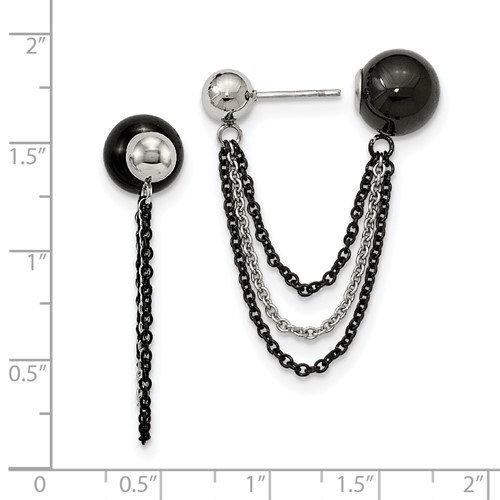 Stainless Steel Polished and Black IP-plated Ball Reversible Post Dangles