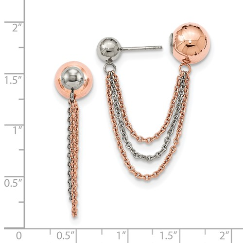 Stainless Steel Polished and Pink IP-plated Ball Reversible Post Dangles