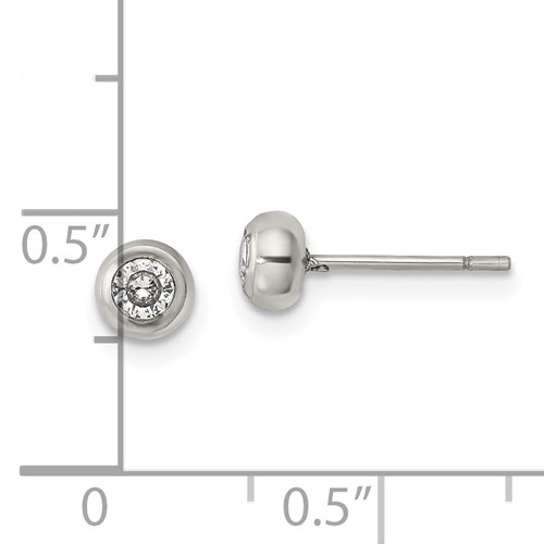 Stainless Steel Polished 3mm Bezel CZ Stud Post Earrings