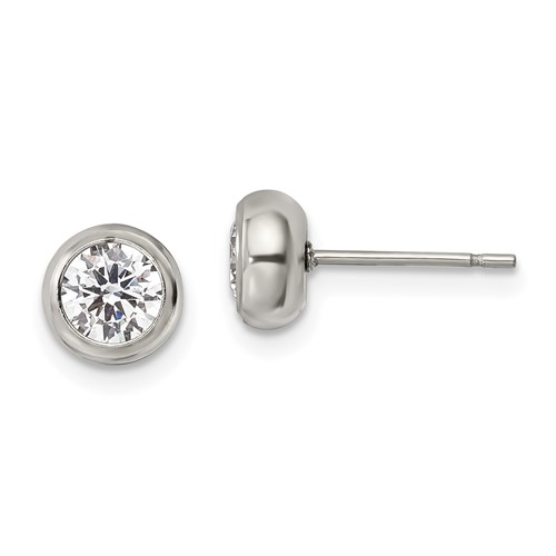 Stainless Steel Polished 5mm Bezel CZ Stud Post Earrings