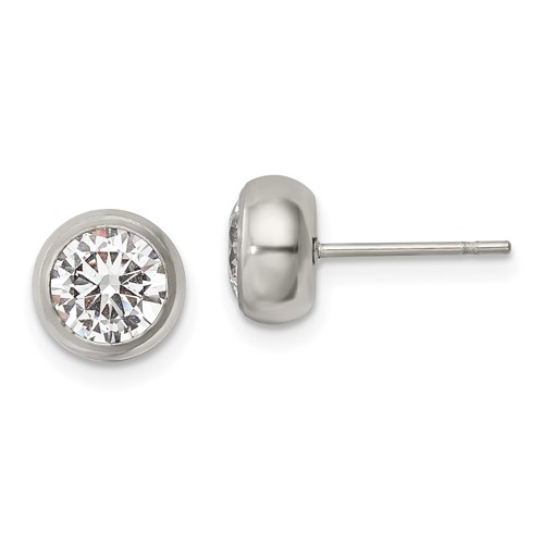 Stainless Steel Polished 6mm Bezel CZ Stud Post Earrings
