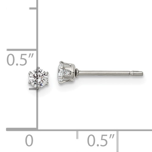 Stainless Steel Polished 3mm CZ Stud Post Earrings